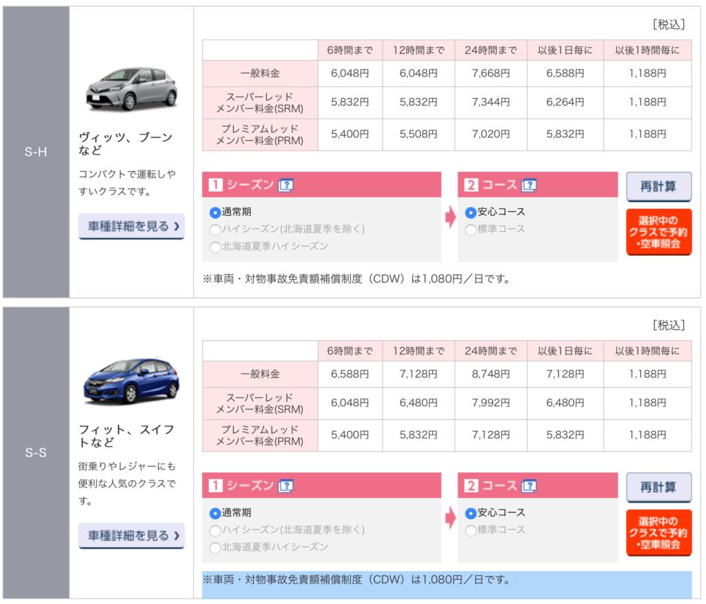 ニッポンレンタカー-料金表